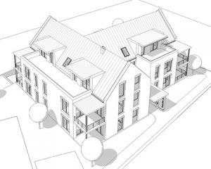 Skizze Gesamtansicht des Hauses