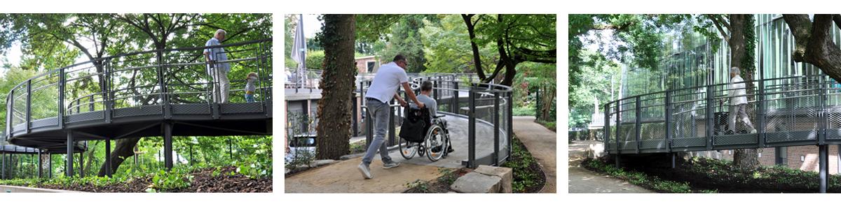 Benutzung der Rampe von verschiedenen Nutzergruppe: Rollstuhlfahrer, alte Dame mit Rollator, Kleinkind mit seinem Opa