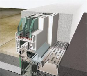 Grafik eines Querschnittes eines Türdichtungssystems mit absenkbarer Bodendichtung und vorgelagerter Entwässerungsrinne.