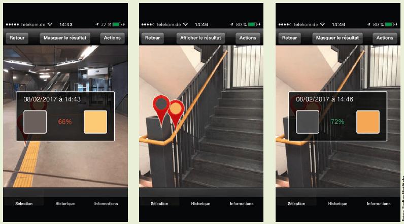 Screenshots einer Mess-App für Kontraste