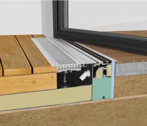 Schnitt durch einen fertiggestellten barrierefreien Zugang zu einer Dachterrasse in Holzbauweise