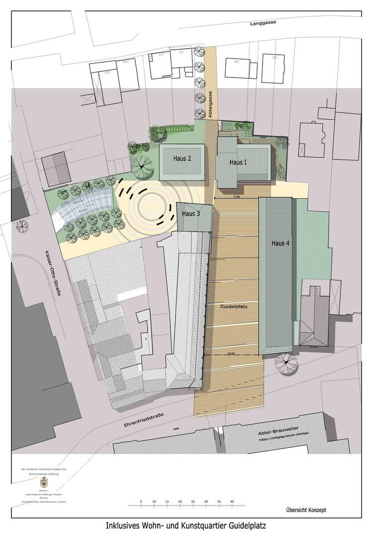 Gebäudeplan: Übersicht des Baugebietes mit 4 Häusern. Im Haus 3 entsteht ein Ateliergebäude. In den Häusern 1 und 4 sollen die frei vermietbaren Wohnungen entstehen. Im Gebäude 2 gibt es Apartments und Atelierräume