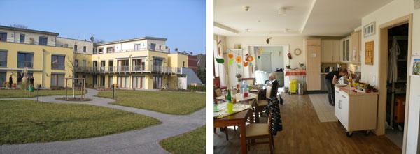 Haus Rafael im Kölner Stadtteil Ensen beinhaltet insgesamt 10 Mietwohnungen und 3 stationäre Hausgemeinschaften für je 8 Bewohnermit Demenz. Im Erdgeschoss liegen 2 Hausgemeinschaften mit Gartenzugang, im ersten Obergeschoss eine weitere Hausgemeinschaft und 5 Mietwohnungen. (Quelle Fotos: WiA Aachen)